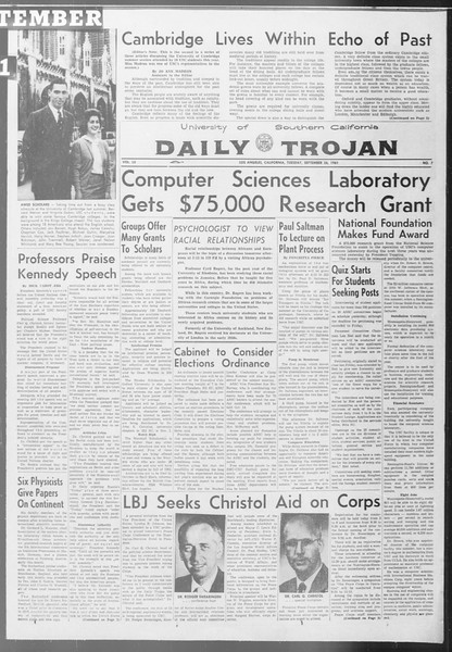 Daily Trojan, Vol. 53, No. 7, September 26, 1961