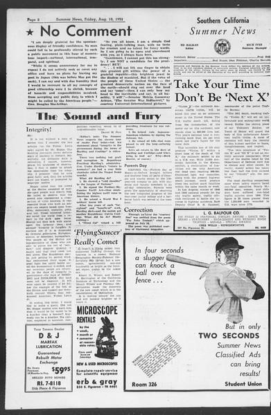 Summer News, Vol. 6, No. 14, August 10, 1951
