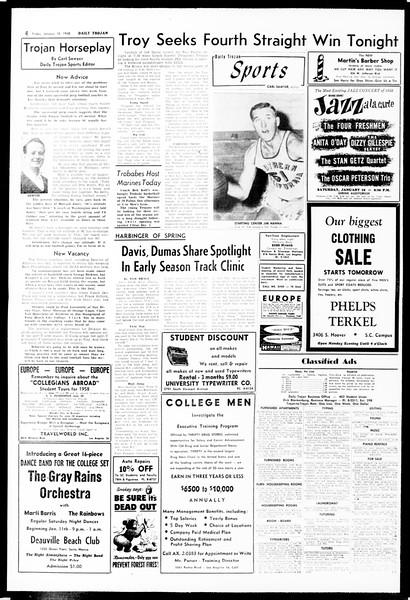 Daily Trojan, Vol. 49, No. 61, January 10, 1958