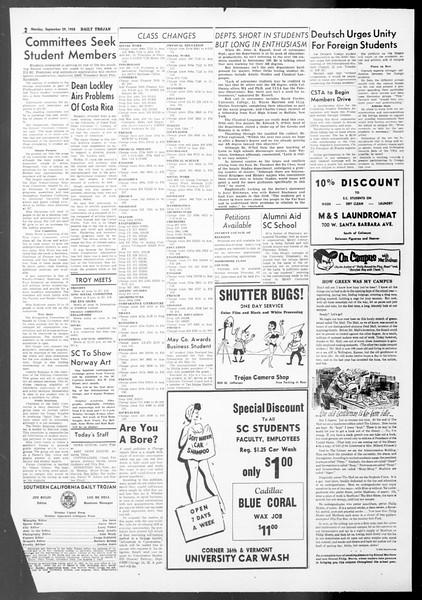 Daily Trojan, Vol. 50, No. 6, September 29, 1958