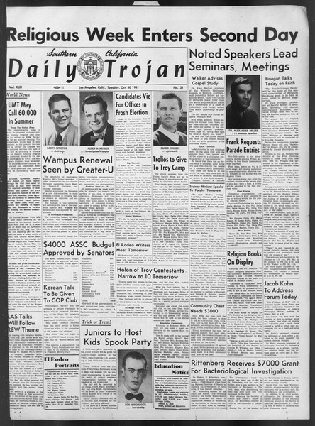 Daily Trojan, Vol. 43, No. 31, October 30, 1951