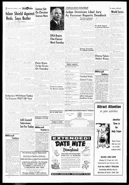 Daily Trojan, Vol. 49, No. 7, October 02, 1957