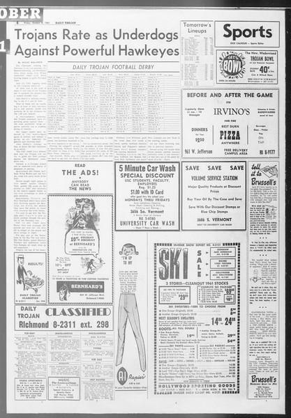 Daily Trojan, Vol. 53, No. 15, October 06, 1961
