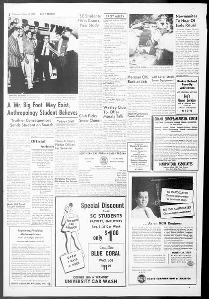 Daily Trojan, Vol. 50, No. 18, October 15, 1958
