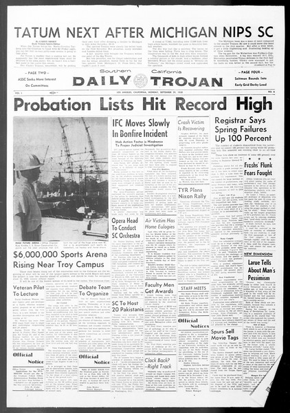 Daily Trojan, Vol. 50, No. 6, September 29, 1958