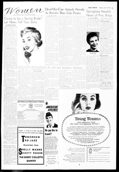 Daily Trojan, Vol. 49, No. 107, April 24, 1958