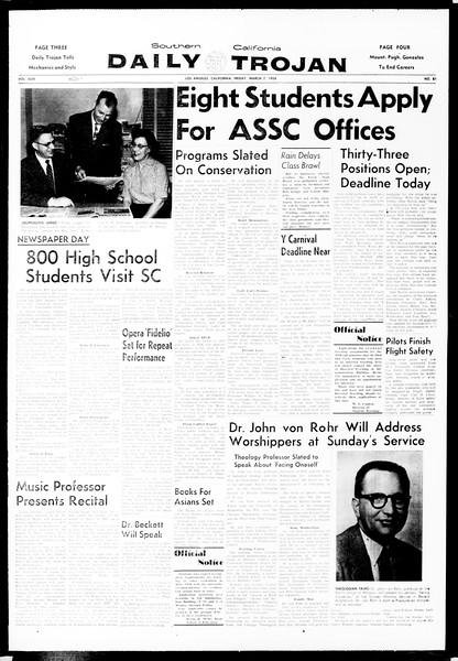 Daily Trojan, Vol. 49, No. 81, March 07, 1958