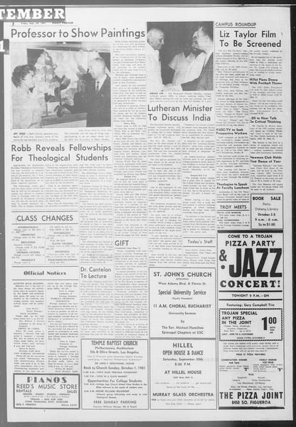 Daily Trojan, Vol. 53, No. 10, September 29, 1961