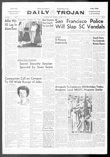 Daily Trojan, Vol. 48, No. 14, October 10, 1956