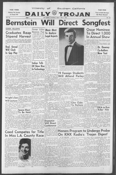 Daily Trojan, Vol. 53, No. 105, April 06, 1962