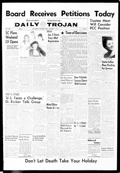 Daily Trojan, Vol. 49, No. 55, December 13, 1957