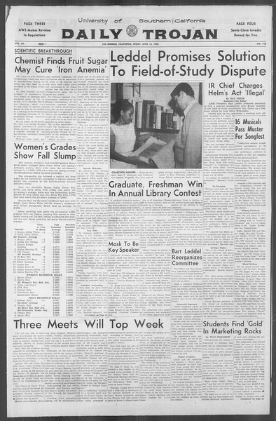 Daily Trojan, Vol. 53, No. 110, April 13, 1962
