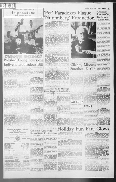 Daily Trojan, Vol. 53, No. 59, December 14, 1961
