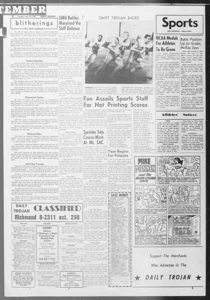 Daily Trojan, Vol. 53, No. 7, September 26, 1961