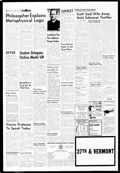 Daily Trojan, Vol. 49, No. 17, October 16, 1957