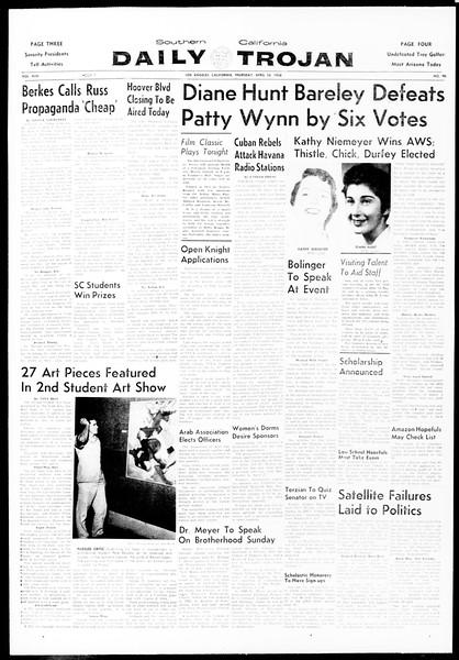 Daily Trojan, Vol. 49, No. 99, April 10, 1958