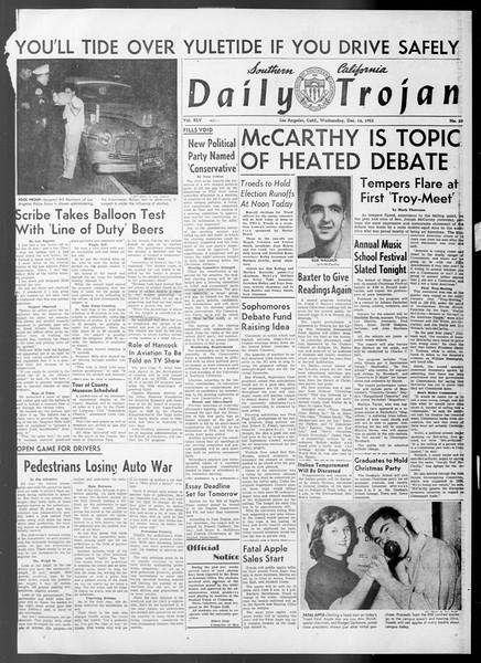Daily Trojan, Vol. 45, No. 60, December 16, 1953