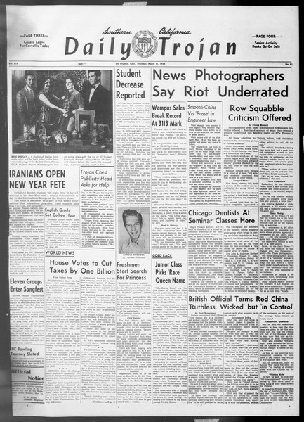 Daily Trojan, Vol. 45, No. 91, March 11, 1954