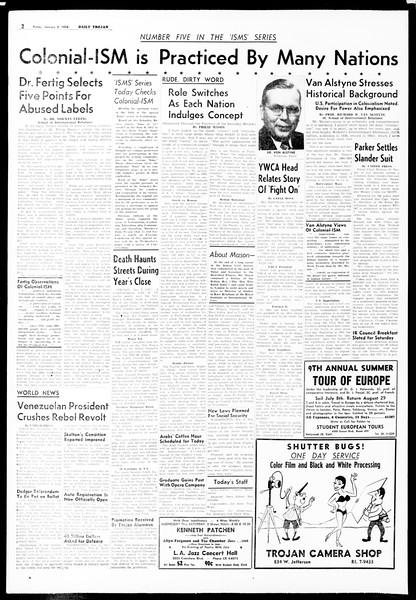 Daily Trojan, Vol. 49, No. 57, January 03, 1958
