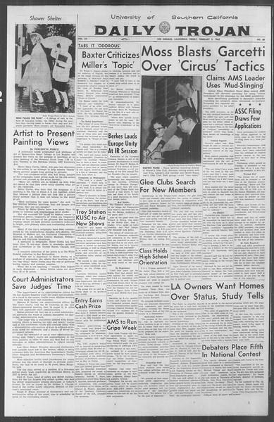Daily Trojan, Vol. 53, No. 66, February 09, 1962