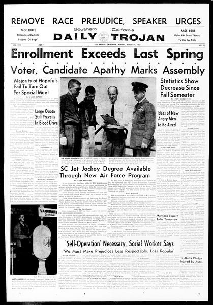 Daily Trojan, Vol. 49, No. 92, March 24, 1958