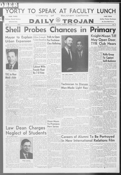 Daily Trojan, Vol. 53, No. 13, October 04, 1961