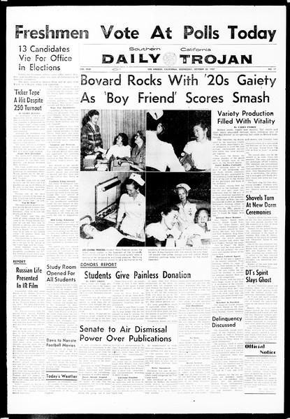 Daily Trojan, Vol. 49, No. 27, October 30, 1957