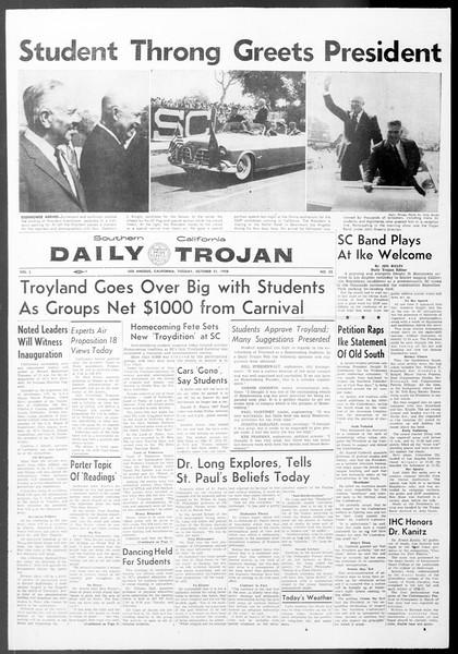 Daily Trojan, Vol. 50, No. 22, October 21, 1958