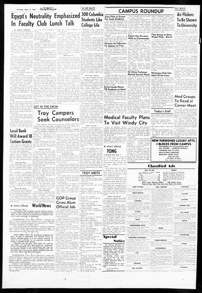Daily Trojan, Vol. 48, No. 113, April 11, 1957