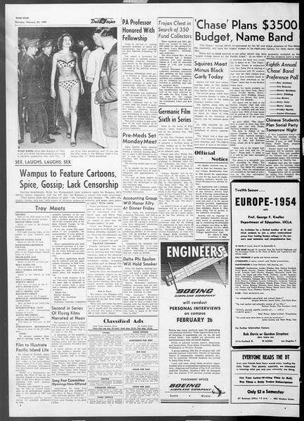 Daily Trojan, Vol. 45, No. 81, February 25, 1954