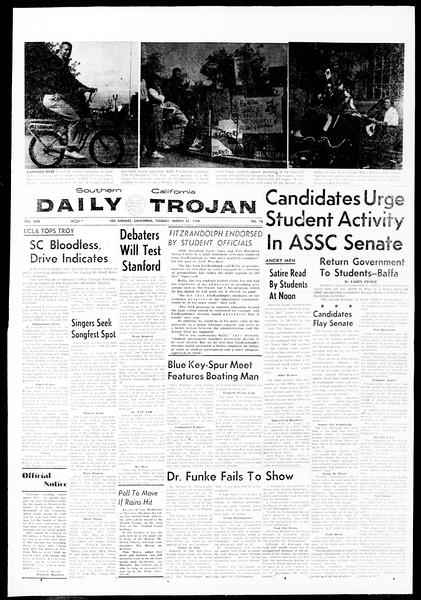 Daily Trojan, Vol. 49, No. 93, March 25, 1958