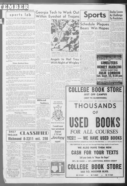 Daily Trojan, Vol. 53, No. 3, September 20, 1961