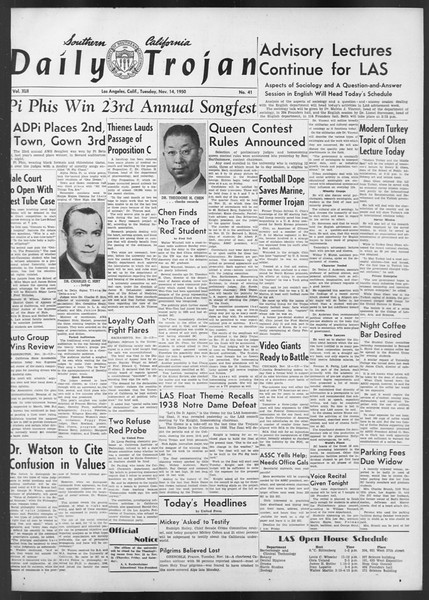 Daily Trojan, Vol. 42, No. 41, November 14, 1950