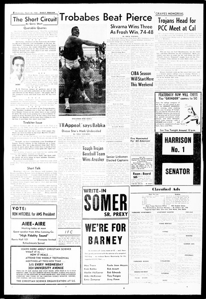Daily Trojan, Vol. 49, No. 94, March 26, 1958