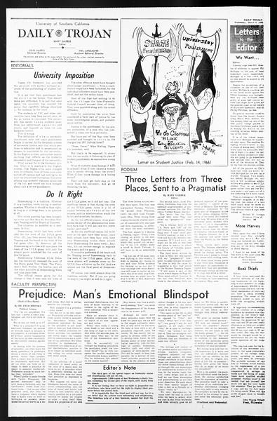 Daily Trojan, Vol. 57, No. 84, March 09, 1966