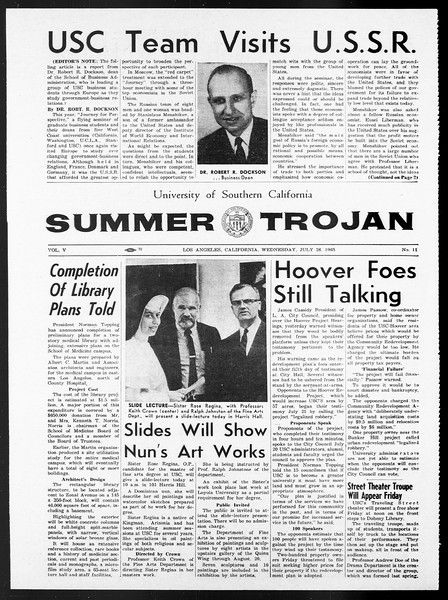 Summer Trojan, Vol. 15, No. 11, July 28, 1965