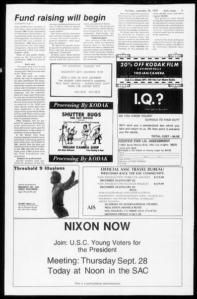 Daily Trojan, Vol. 65, No. 9, September 28, 1972