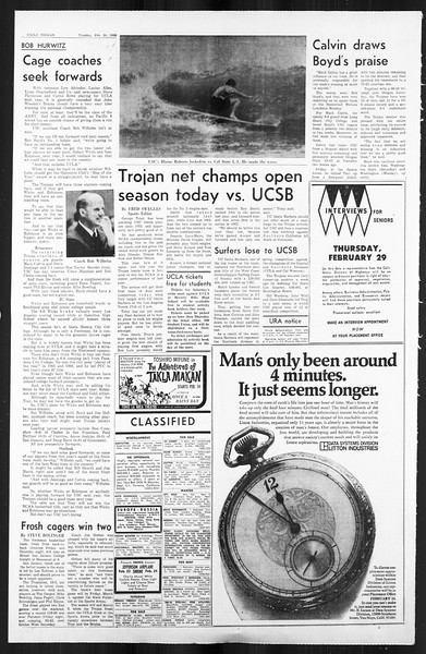 Daily Trojan, Vol. 59, No. 74, February 20, 1968