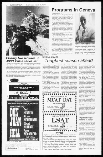 Summer Trojan, Vol. 65, No. 16, August 23, 1972