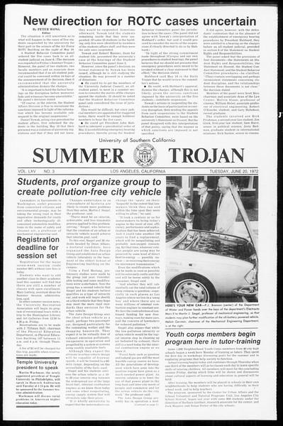 Summer Trojan, Vol. 65, No. 3, June 20, 1972