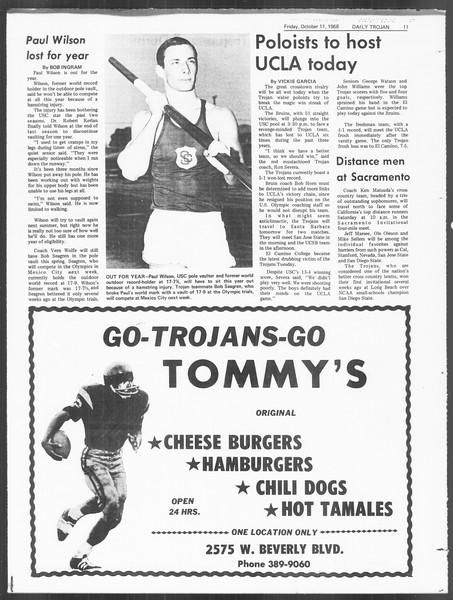 Daily Trojan, Vol. 60, No. 18, October 11, 1968