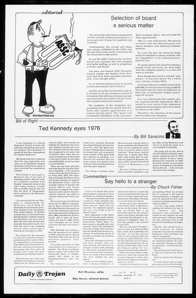 Daily Trojan, Vol. 65, No. 8, September 27, 1972