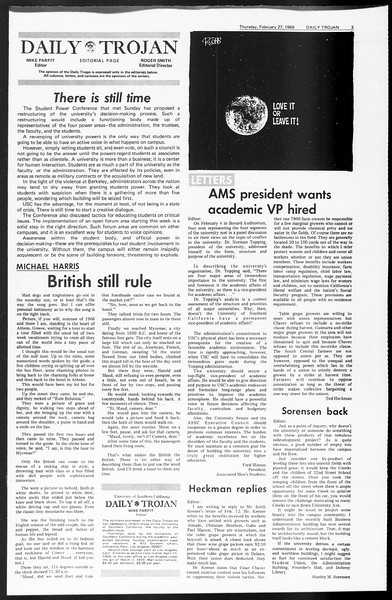 Daily Trojan, Vol. 60, No. 79, February 27, 1969