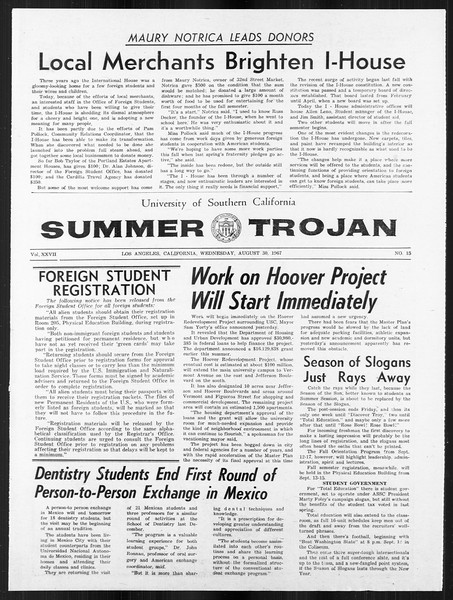 Summer Trojan, Vol. 18, No. 15, August 30, 1967
