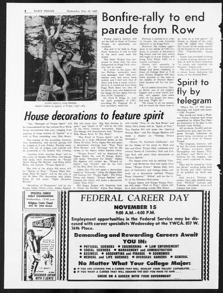 Daily Trojan, Vol. 59, No. 41, November 15, 1967