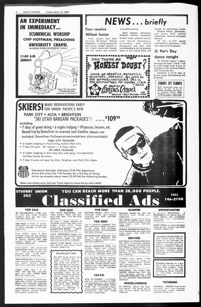 Daily Trojan, Vol. 60, No. 90, March 14, 1969