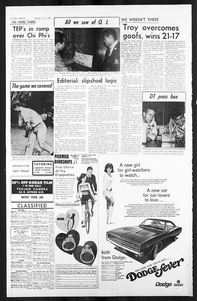 Daily Trojan, Vol. 59, No. 11, October 02, 1967