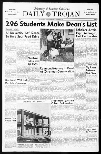 Daily Trojan, Vol. 55, No. 56, December 16, 1963