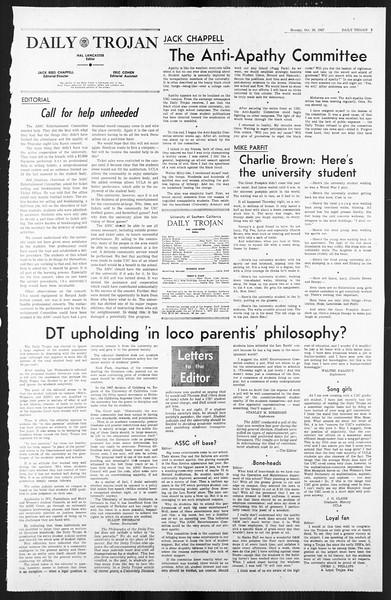 Daily Trojan, Vol. 59, No. 30, October 30, 1967