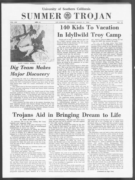 Summer Trojan, Vol. 19, No. 15, August 21, 1968